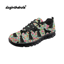 Doginthehole Rottweiler Floral Dog Sneakers Women Walking Shoes Breathable Mesh Chaussure Female Outdoor Sports Shoe Athletic