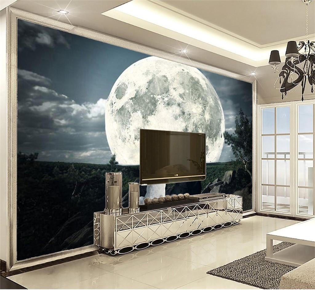 Discount For Cheap Wallpaper Dream Night Couple Wolf 3d Animal Wallpaper 3D Wall Paper Home Decor