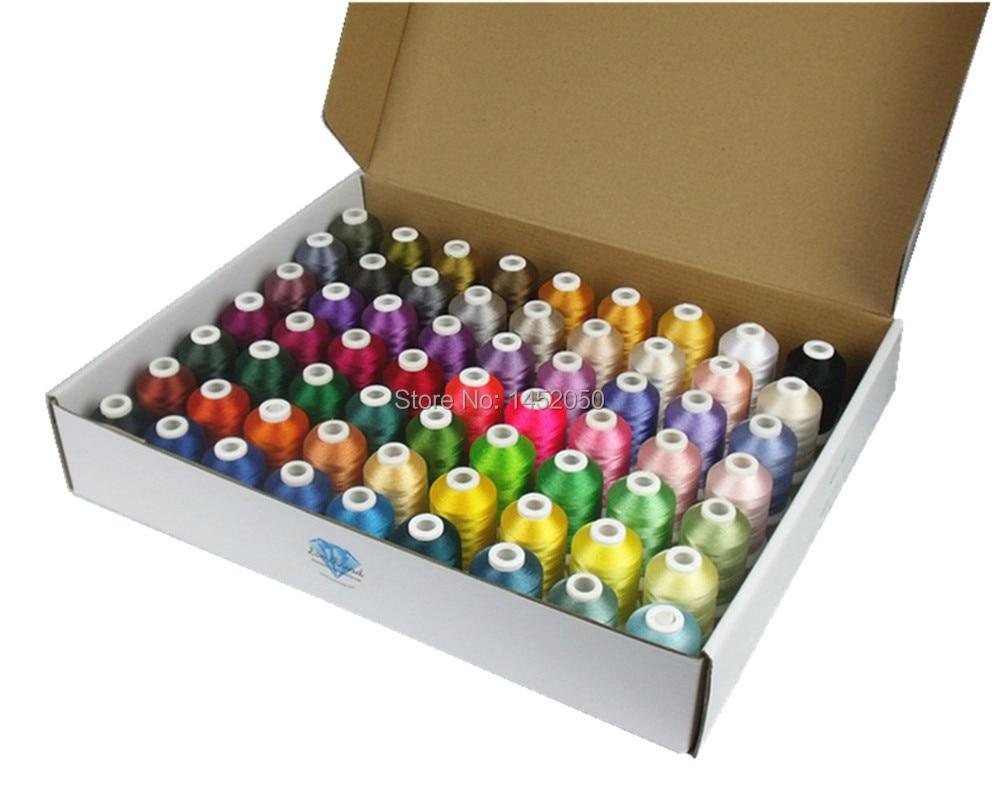 Polyesterová výšivka strojního vlákna 63 barev Brother + 5 barev záře v tmavém niti výšivek