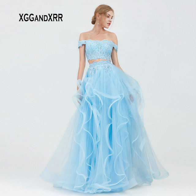 Elegant Fuchsia Two Pieces Prom Dress 2019 Light Blue Long Tulle Formal Evening Party Gown Lace Applique Ruffles Pink Gala Dress