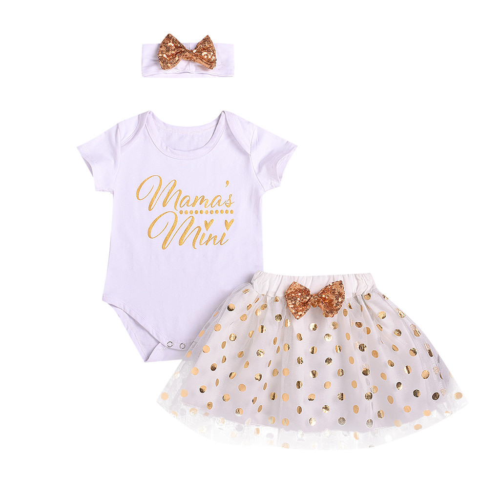 tulle Dot Sequins Skirt Muqgew Newborn Baby Girl Clothes Summer Letter Printed Bodysuit headband Clothing Sets Bebek Giyim Distinctive For Its Traditional Properties