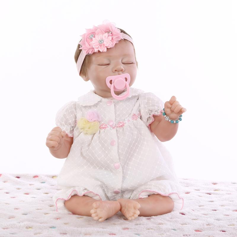 New Half Vinyl Body Sleeping Baby Doll Toy Brinquedo Girls Birthday Gift Play Doll 22 inch Silicone Reborn Dolls in Pink Clothes lovely panda in pink dress big 90cm plush toy panda doll soft throw pillow proposal birthday gift x030
