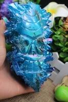 1389 gramas de cristal de quartzo natural crânio azul escultura do anjo A896