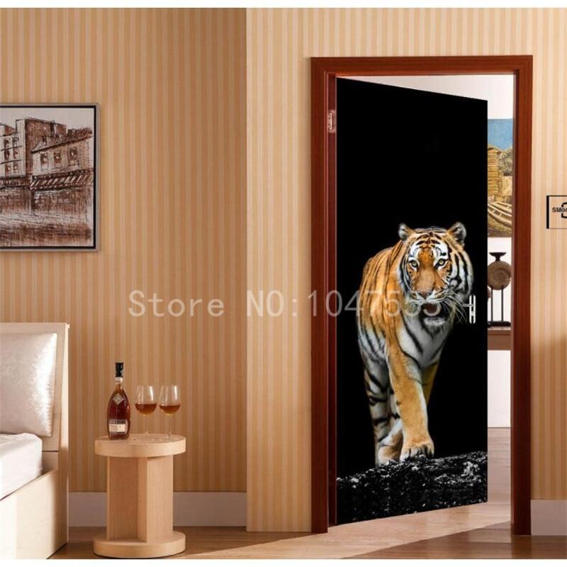 Wall Painting Forest Tiger 3D DIY Mural Wallpaper Background Living Room Bedroom Door Wallpaper Sticker Sticky Painting-in Wallpapers from Home Improvement ... & Wall Painting Forest Tiger 3D DIY Mural Wallpaper Background ...