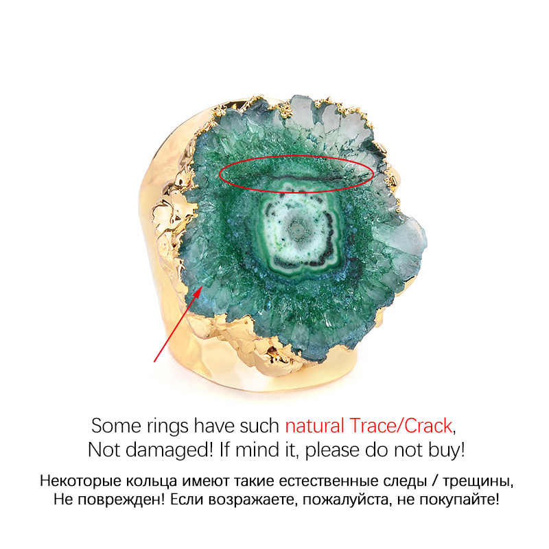 BELLA. เวลาปรับหินธรรมชาติ Druzy แหวน Boho Solar ควอตซ์ Sun ดอกไม้ Druzy Gold Silver ฐานทองแดงแหวน RI36