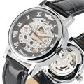Мужские часы с автоматической обмоткой  прозрачные механические часы  кожаный ремешок  новая мода 2019  светящиеся стрелки  horloges mannen