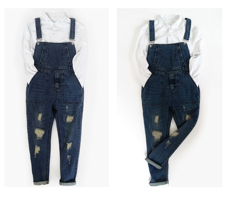 Hip hop streetwear swag pants Autumn Fashion mens loose jean overalls Casual bib jeans for men Male Ripped denim jumpsuit 71305  2016 spring autumn fashion brand mens slim jeane overalls casual bib jeans for men male ripped denim jumpsuit