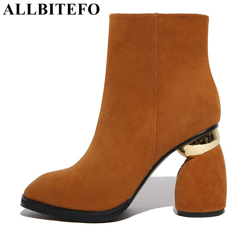 ALLBITEFO large size:34-42 Nubuck leather thick heel women boots fashion brand high heel shoes winter boots martin boots цена 2017