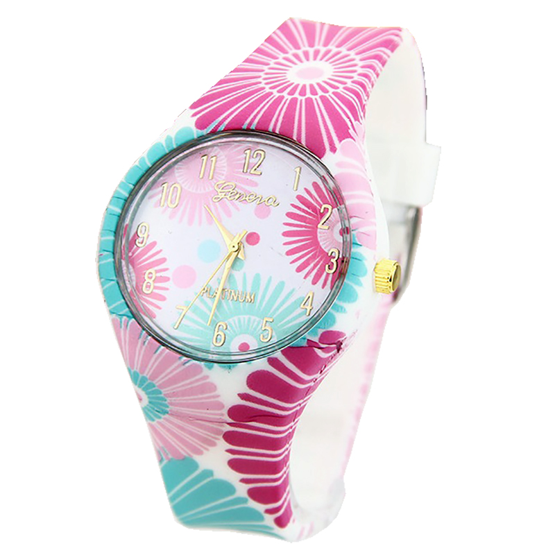 NEW Silicone Geneva Flowers Watch Platinum Geneva Watch Analog Printed Rubber Band Vintage Fashion Women wristwatch контейнер для отработанного тонера brother wt100cl