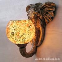 TUDA 23X28.5cm Free Shipping European Retro Style Wall Lamp Creative Elephant Resin Wall Lamp Glass Lampshade Wall Lamp E27