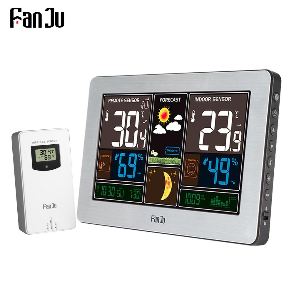 FanJu FJ3378 Wireless Weather Station Wall Digital Clock Barometer Thermometer Hygrometer Sensor Forecast Colorful LCD Display