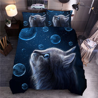Lovely Cat Bubble Printing Bedding Set Pillowcase Duvet Cover Comforter Cover Set For Children Bedroom ropa de cama