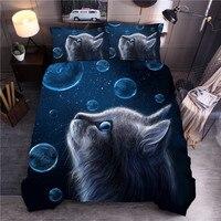 Lovely Cat Bubble Printing Bedding Set Pillowcase Duvet Cover Comforter Cover Set For Children Bedroom ropa de cama