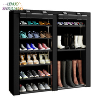 43.3 inch 6 layer 12 grid Non woven fabrics large shoe rack organizer removable shoe storage for home furniture shoe cabinet