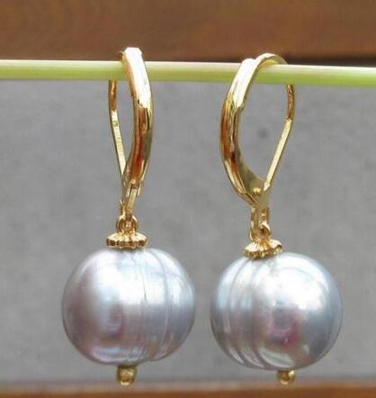 Kostenloser versand riesige AAA 10-11mm Weiß Barocke Perle Ohrringe 14 karat/20 GELB HAKEN