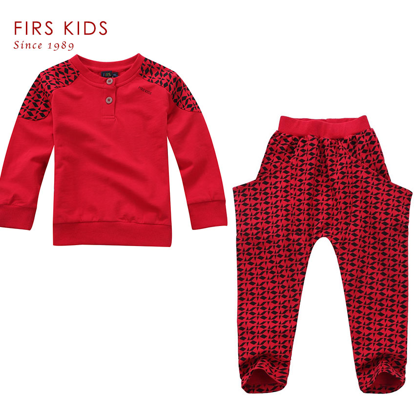 ФОТО FIRS KIDS New arrival 2016 children set fashion red color children's clothing Kids Casual Clothes Suit Children Cotton Sport Set