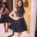2016 Above Knee Mini Crystal High Neck Lace Applique Black Short Cocktail Party Dresses vestidos de fiesta summer dress