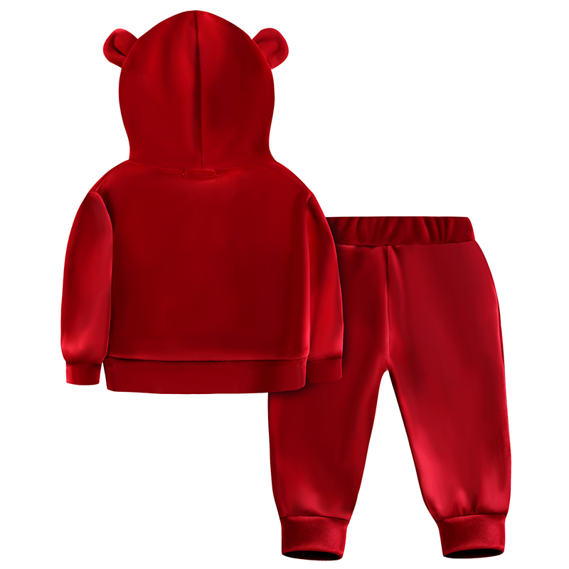 df2811446db28 Baby Girls Velvet Hooded Clothing Set Autumn Spring Kids Suit for Girl Boys  Sports Suits Tracksuits Toddler Children Clothes Set