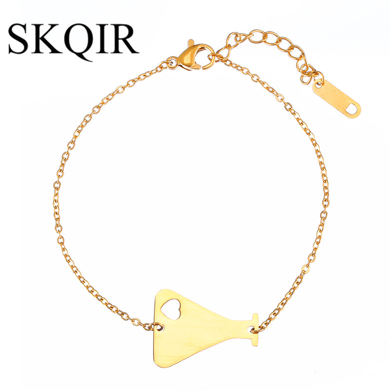 SKQIR 2017 Fashion Heart Medical Containers Bracelet For Nurse Doctor Jewelry Gold Chain Stainless Steel Bracelets
