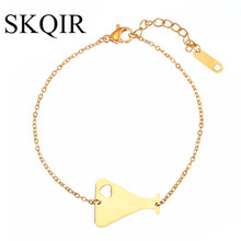 SKQIR 2017 Fashion Heart Medical Containers Bracelet For Nurse Doctor Jewelry Gold Chain Stainless Steel Bracelets for Women