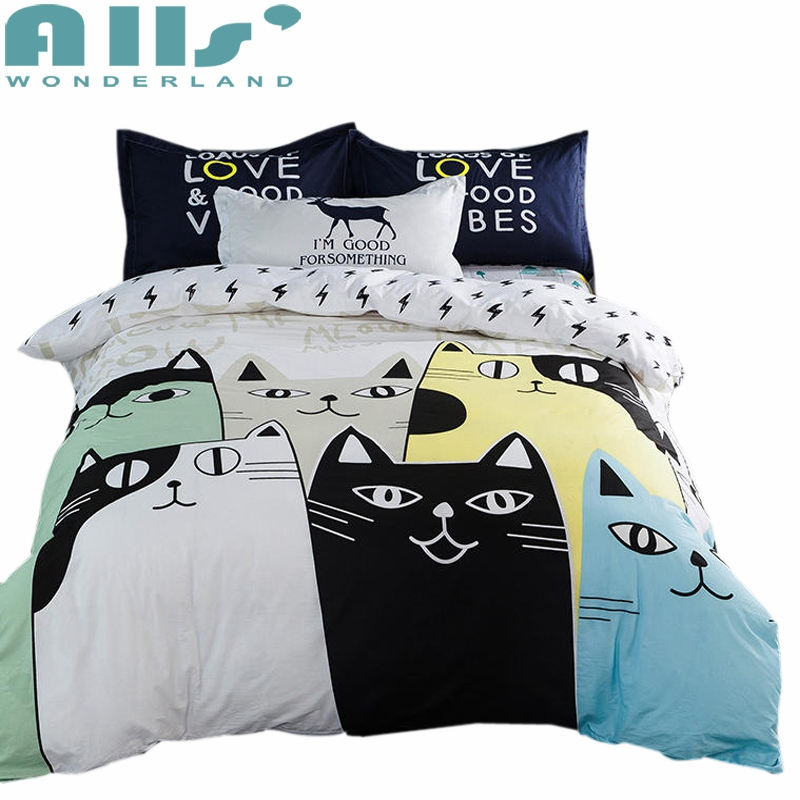 Lovely cat cartoon kids bedding set Bed Linen 3d bedding sheet duvet cover pillowcases twin Queen king size 100% Cotton