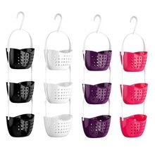 New 3 Tier Shower 3 Tier Basket Plastic Hanging Basket Bathroom Storage Rack Shower Organiser For Home Tools