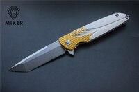 MIKER Free Shipping Brian Nadeau Tactical Survival Typhoon Flipper Bearing Folding Knife D2 Sanding Blade Gold&Silver Alu Sheet