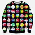 Мужчины пуловер принт интересный emoji флаг кофты с v-образным вырезом свободного покроя полный тонкий 3d толстовки одежда