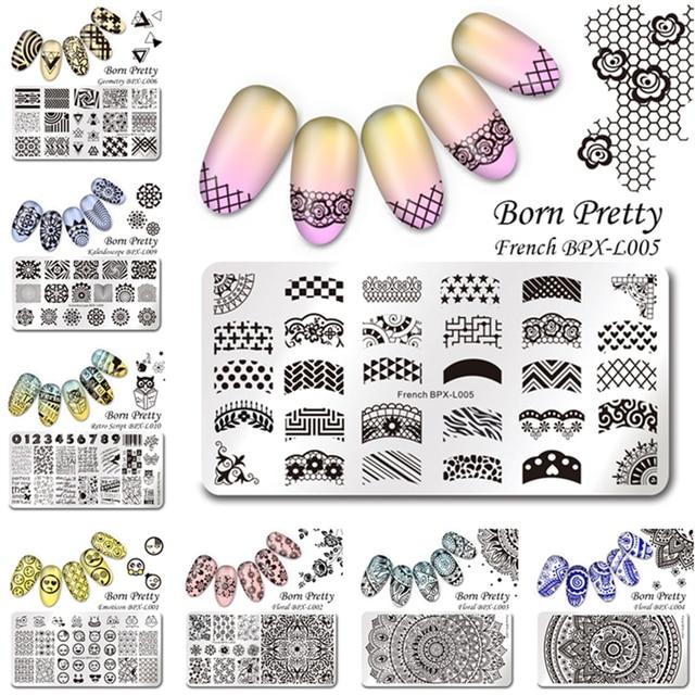 12Pcs/set BORN PRETTY 12*6cm Rectangle Stamping Template Nail Art Image Plate BPX-L001~012