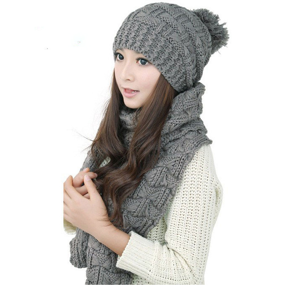 1Set Women Warm Woolen Knitted Beanie Hat And Scarf Winter Shawl Caps Hats  Gorras Mujer Winter 58ac5bd7808