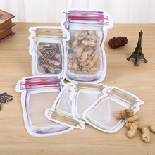 6pcs Bottle Shape Reusable Zip Lock Storage Bag Snack Sealed Packaging Vacuum Bags for Food&Nut Home Organization