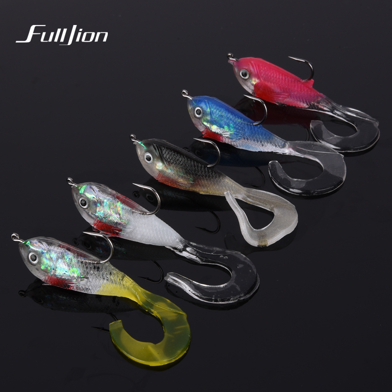 купить Fishing Lures Soft Bait Wobbler Bass Artificial Carp Crankbait With JIG Hook Fishing Tackle Accessories 5 Colors Available недорого