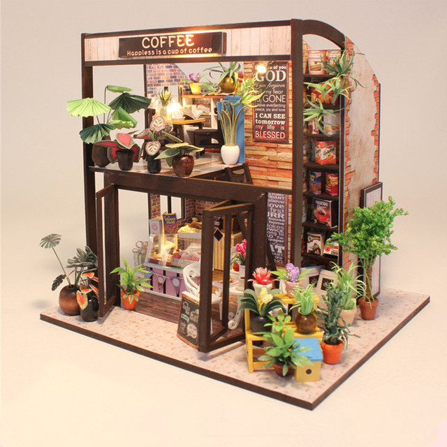 Hoomeda M027 Coffee House DIY Dollhouse With Music Motor Cover Light  Miniature Model Toy Gift
