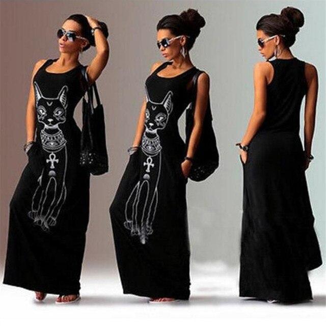 Cat Print Long Maxi Dress Women 2017 Summer Boho Beach Bodycon Dress Elegant Evening Party Dresses Tunic Vestidos S-XL 2