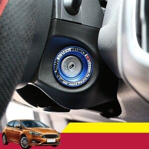 1 unidad de aluminio para interruptor de encendido de coche, cubierta de anillo, círculo agujero llave pegatina para Ford Focus 2 3 4 MK2 MK3 MK4 Kuga Escape Mondeo