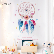 Dreamcatcher Wall Sticker Colorful Feathers Art Diy Home Decoration For Living Room Beautiful Dream QT1240KJ-3MB