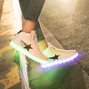 Image 3 - Size 35 44 High Top LED Shoes USB Charging Light up Shoes for Men&Women PU Leather Luminous Glowing Shoe Krasovki with Backlight