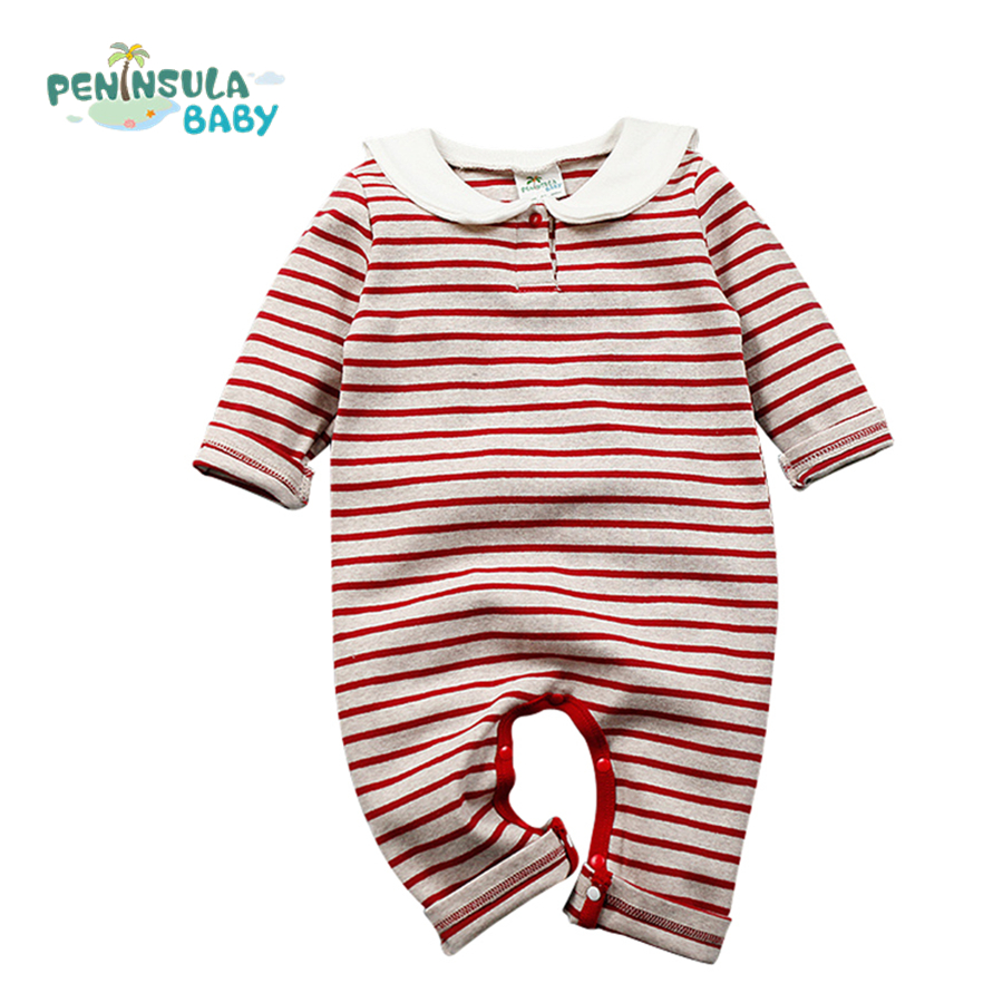 Baby Rompers Clothing Sailor Collar Cat Cotton Long Sleeve Jumpsuits Newborn Infant Boys Girls Striped Clothes Costume winter newborn bear jumpsuit patchwork long sleeve baby rompers clothes baby boys jumpsuits infant girls clothing overall
