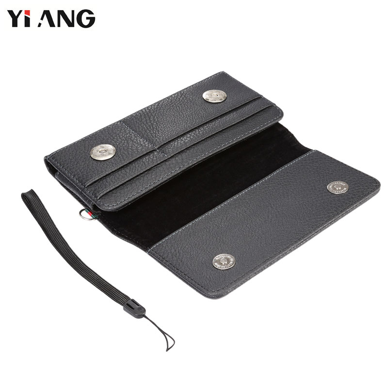 YIANG PU Leather Classic Litchi Grain Waist Packs Fanny Pack Men Mobile Phone Bags Belt Clip Bag With Card Holder Hand Strap