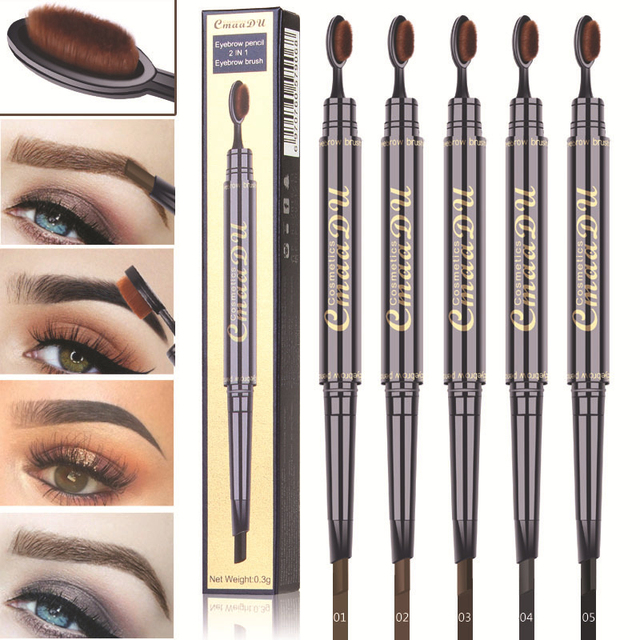 2 IN 1 Eyebrow Maquiagem Profissional Completa Double-head Pencil for Eyes Durable Waterproof Not Flowering Easy To Color TSLM1 2