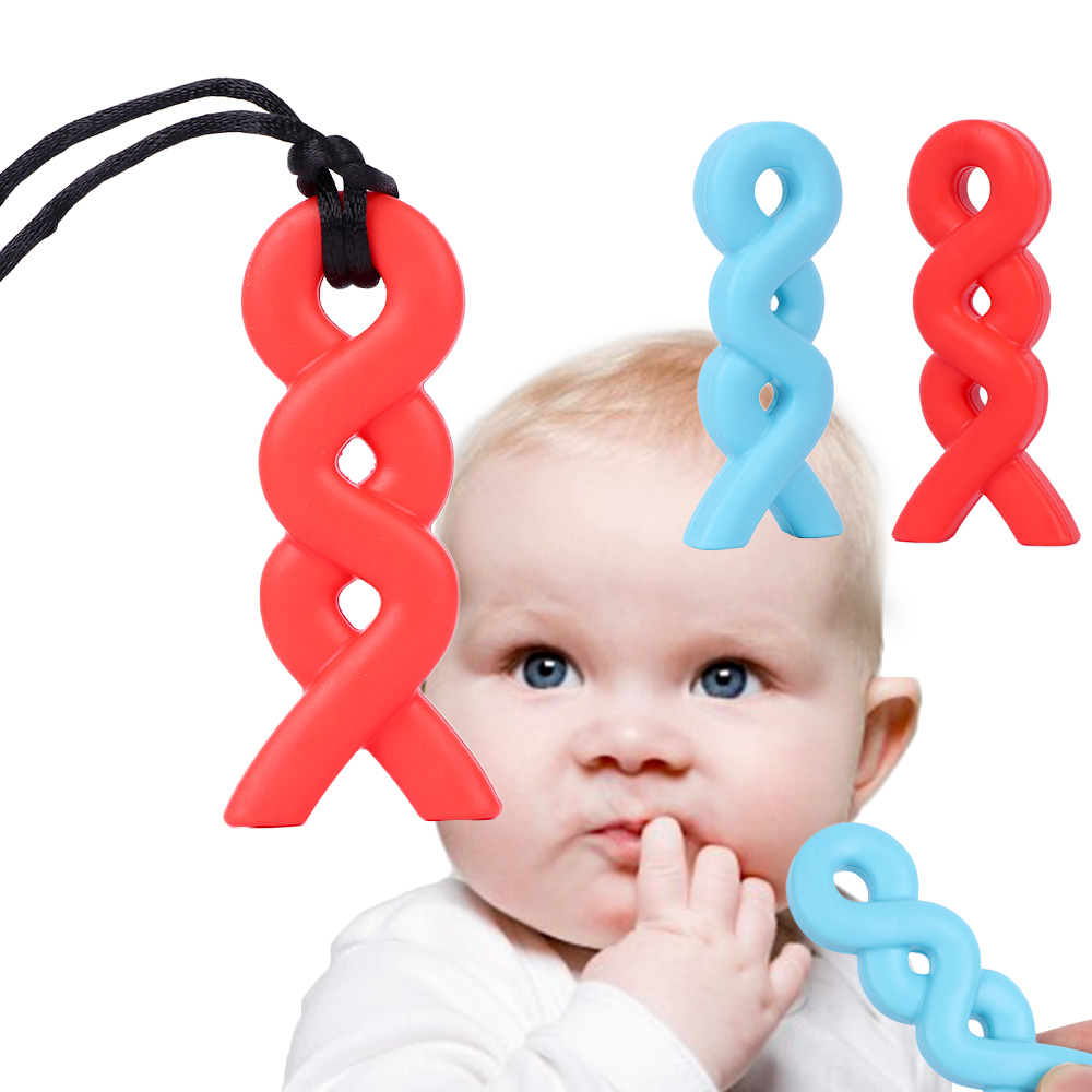 Baby Silicone Chew Teething Teether Pacifier Autism Sensory Toy Pendant Necklace