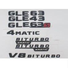 Newest Matte Black ABS Rear Trunk Letters Badge Badges Emblem Emblems Decal Sticker for Mercedes Benz GLE Class GLE63 AMG 2017 car rear trunk emblem badge chrome alphabet letter stickers for mercedes benz amg gle class w292 gle43 gle63 gle300