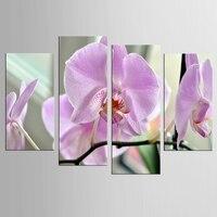 4 פרחים סגולים גדולים יח'\סט מודולרי ציור שמן קישוט קיר אמנות הדפס בד צבע דקורטיבי תמונת ממוסגר