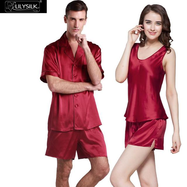 Lilysilk Silk Sexy Sleepwear Set Clothes For Couples Women Camisole Set With Men Short Sleeve Short Pants Suit Loungewear 22 mm