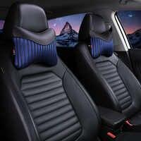 Nova 2 PCS Travesseiros Carro Pescoço Encosto de Cabeça Do Pescoço de Couro PU Respirável Assento de Almofadas Pescoço Travesseiros de Veículos-Car styling Acessórios