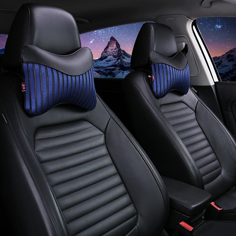 New 2 PCS PU Leather Car Neck Pillows Neck Headrest Breathable Vehicular Pillows Seat Neck Pillows