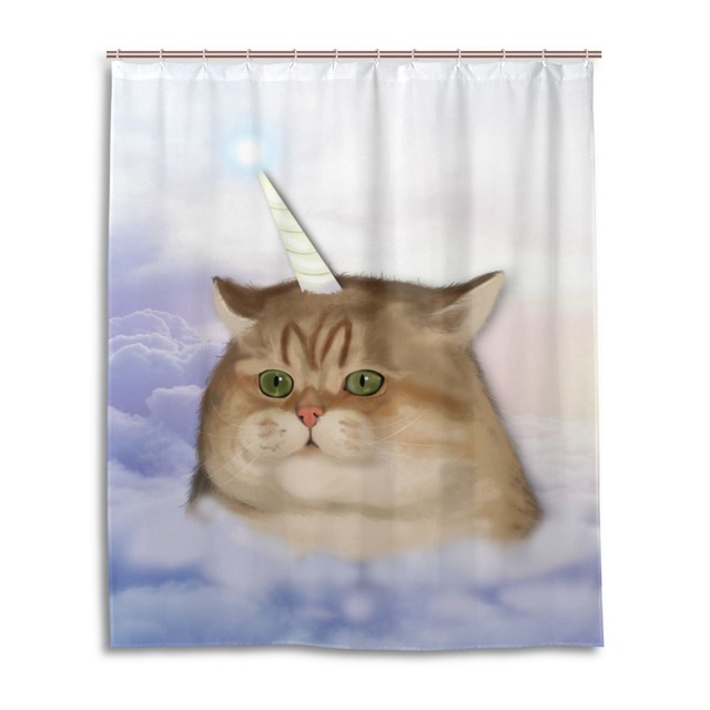 Colorful Western Waterproof Bathroom Products Clear Fabric Cat Shower  Curtain Liner With Hooks Custom Bathtub Curtain