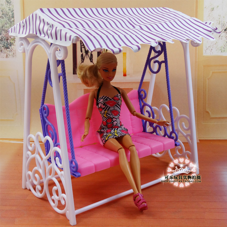 Free Transport,Do Promotion Doll Toy Cute Backyard  Swing set Equipment For barbie Doll Kurhn Doll play home toys for kids