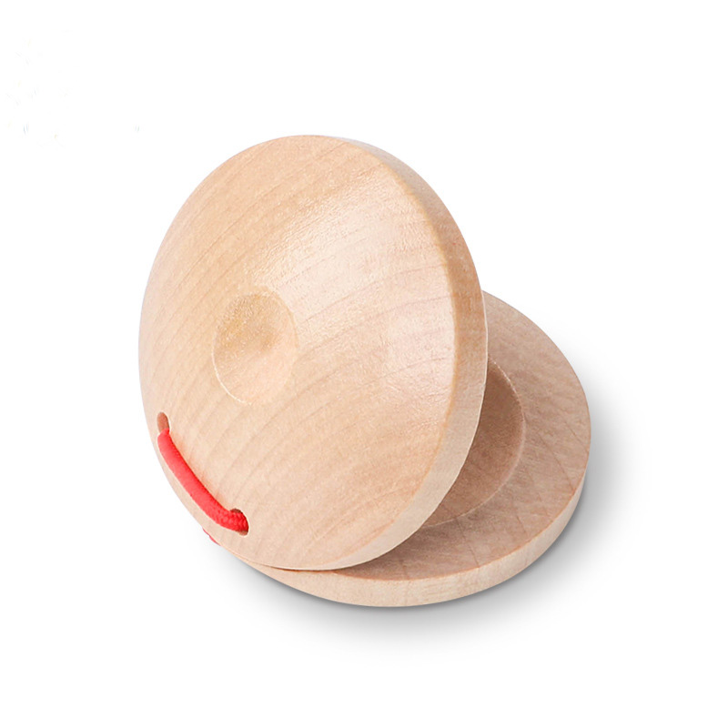 Wooden Percussion Primary Color Castanets Round Dance Board Red Blue For Baby Musical Instrument Preschool Early Educational Toy