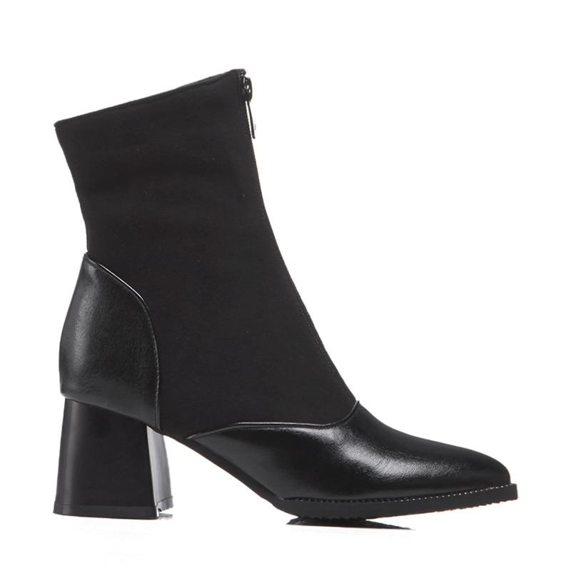 Taille Bout À 35 Automne Black 48 Carrés Grande Bottes Chaussures Orshirly amp; Hauts Pu Talons Femmes Suede Zipper Mode Pointu Faux Cheville 4nw6xUP